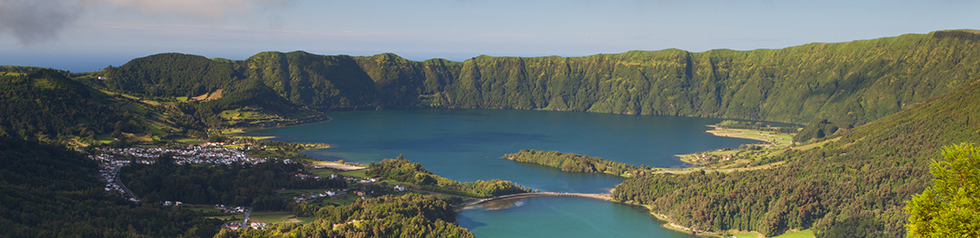 Lake of Sete Cidades from Vista do Rei viewpoint in Sao Miguel Azores